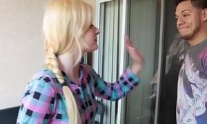 Legal age teenager platinum-blonde jism be full