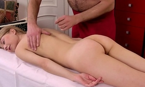 Hot Russian being massaged hard by an old dude