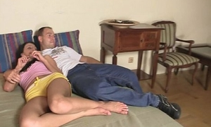 This guy finds her concupiscent GF fucking his parents