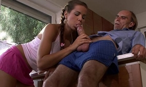 Guy beating old daddy caught him fucking his GF