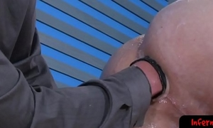 Dicksucking sub fisted by older top