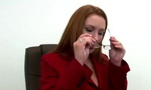 Dazzling and sexy boss fucked away from a younger boy in office