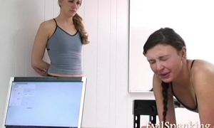 Hot girls spanked by caning machine
