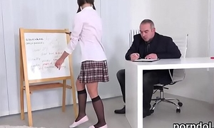 Lovable order of the day girl was tempted and poked by her elderly instructor