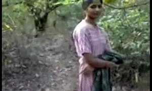 Indian girl bonking connected with forest