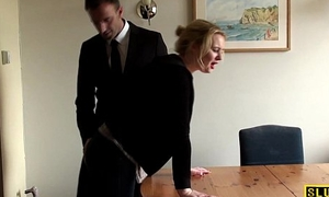 Throatfucked UK sub spanked until red-hot raw