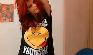 young redhead masturbating on camera