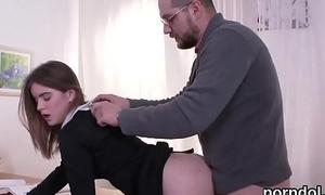 Pretty schoolgirl gets tempted and poked overwrought her elder pedagogue