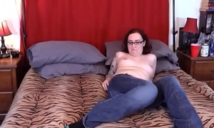 Fat Brunette Dressing with an egg upon pussy