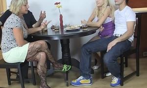 Czech comme ci involved into threesome mature sex