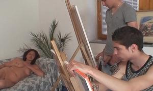Superannuated granny and boys teen threesome