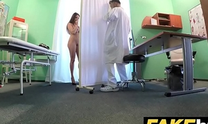 Fake Hospital Tall suntanned patient helter-skelter big natural tits swallows docs cum